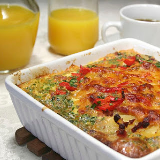 Bacon and Egg Casserole With Tomatoes.