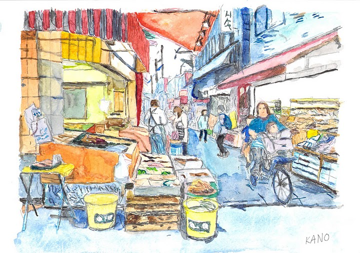 Photo: 5-T2砂町銀座のお惣菜屋さん  加納さんの絵はがきはこちらから購入できます。 http://artgoods.creativesmile.info/products/list.php?category_id=49