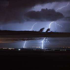 October lightning by Matic Cankar - Landscapes Weather ( clouds, strike, lightning, autumn, sea, storm, italy )