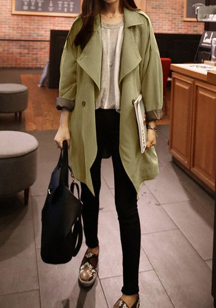 Casual outfit with olive coat, taupe top and black pants for Soft Autumn women
