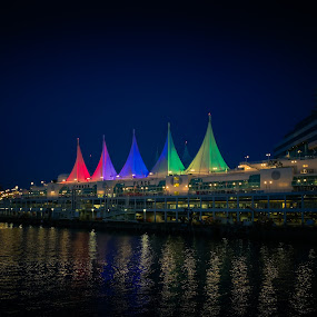 Canada Place in Vancouver at noght by Karin Wollina - City,  Street & Park  Night ( lights, canada, beautiful, night, vancouver,  )