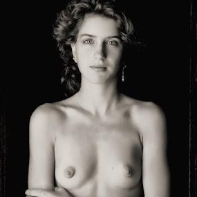 Lisa. by Bruce Martin - Nudes & Boudoir Artistic Nude ( polaroid 4x5 black and white, nude portraitt, black & white polaroid, female nude, Model, Portrait, Untouched, Unedited, Non-photoshop )