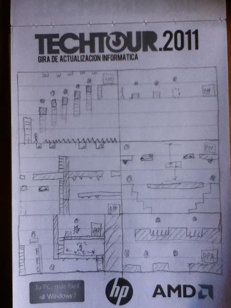 Algunos bocetos en el cuaderno borrado de Jafi que usaba para diseñar los niveles del juego.