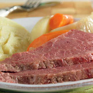 Slow Cooked Corned Beef and Cabbage.