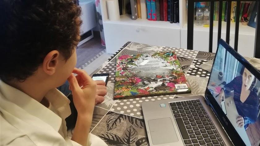 Alumno de The British School of Almería siguiendo sus clases online.