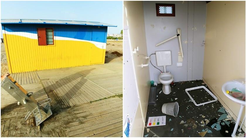 Dos imágenes que muestran los destrozos.