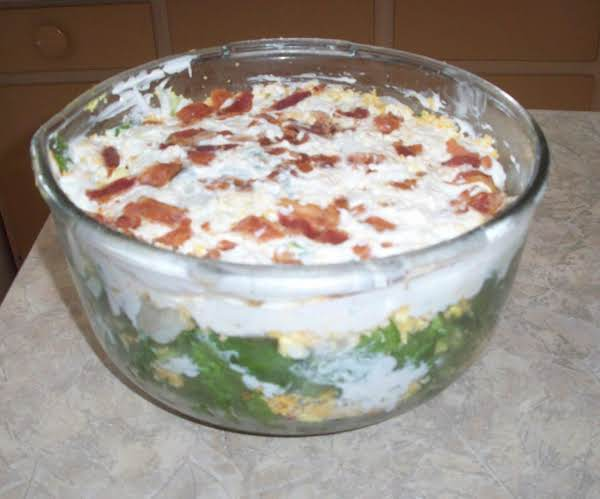 Company's Coming Multi-layered Salad.  Love This Salad.  Looks Great In A Fancy Bowl And Goes A Long Way.