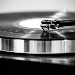 Atmosphere by Tom Mehlum - Black & White Objects & Still Life ( music, turntable, modern, pickup, black and white, sound, stereo, vinyl, retro, records, photo )