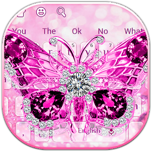 Purple Diamond Butterfly Keyboard for PC