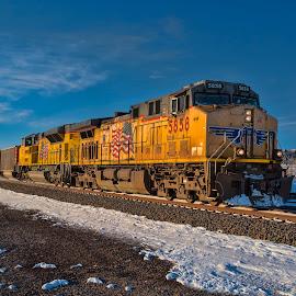 Eastbound at Buttermilk Curve by Jeff Cottingham - Transportation Trains ( locomotives, union pacific, trains, nebraska trains, triple track main, up )