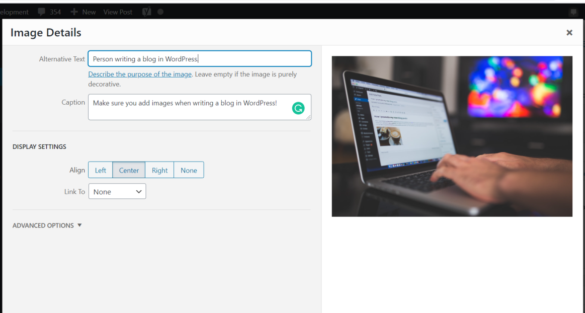 Screenshot that shows how to add alt text to images in WordPress.
