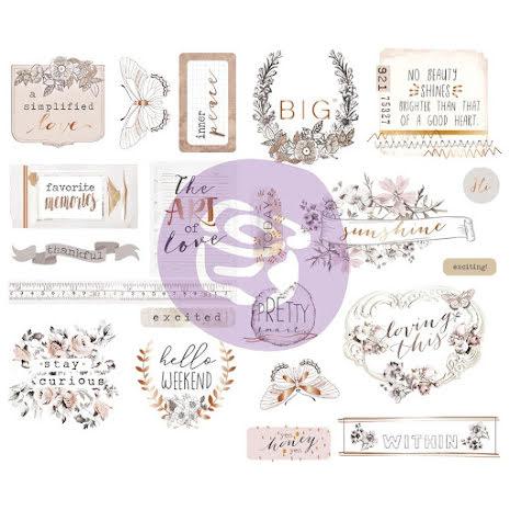 Prima Marketing Chipboard Stickers 21/Pkg - Pretty Pale UTGÅENDE