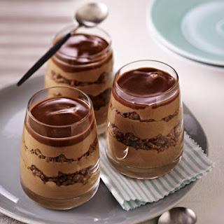 Layered Chocolate and Crispy Caramel Sundaes.
