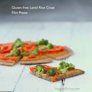 Gluten-free Lentil Rice Crust Pizza with Buffalo Mayo sauce, Red Bell Peppers and Broccoli. Vegan Gum-free Oil-free