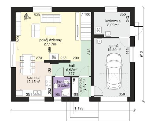 Dom przy Alabastrowej 34 - Rzut parteru