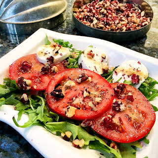 Easy Caprese Salad with Red Walnuts.