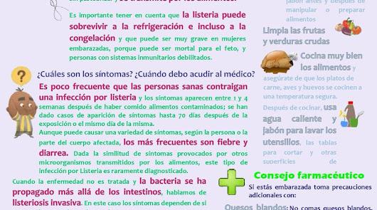 cartel editado por los farmacéuticos almerienses para prevenir la listeriosis.