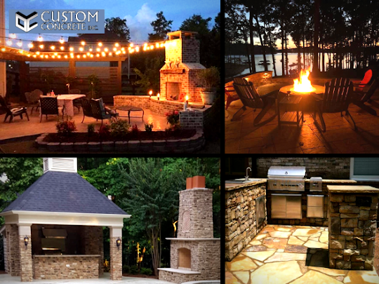 outdoor living spaces with stamped concrete in Metro Atlanta