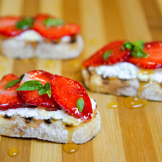 Bruschetta With Strawberries And Cottage Cheese
