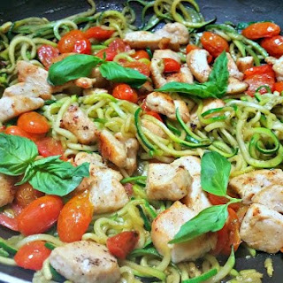Zucchini Noodles with Chicken, Roasted Tomatoes and Pesto