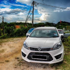 PROTON IRIZ by Budin DaneCreative - Transportation Automobiles ( car, iriz, proton, hdr, white, malaysia,  )