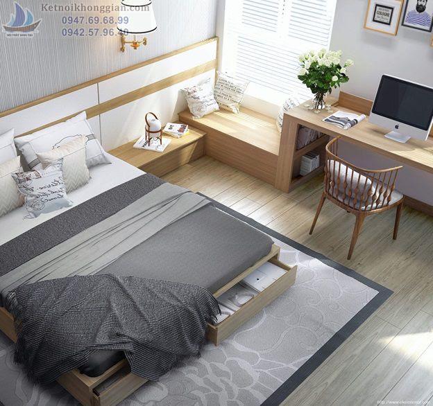 thiết kế phòng ngủ nhỏ kêt hợp phòng làm việc