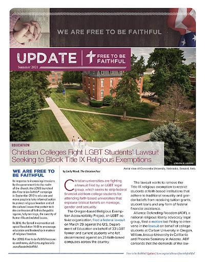 'Free to be Faithful' – Summer 2021 newsletter