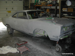 Photo: 69 roadrunner two door sedan block sanded and ready for sealer and engine