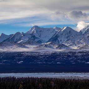 Mountains above Paxon Lake by Rev Marc Baisden - Landscapes Mountains & Hills ( winter, seasons, color, alaska, lakes )