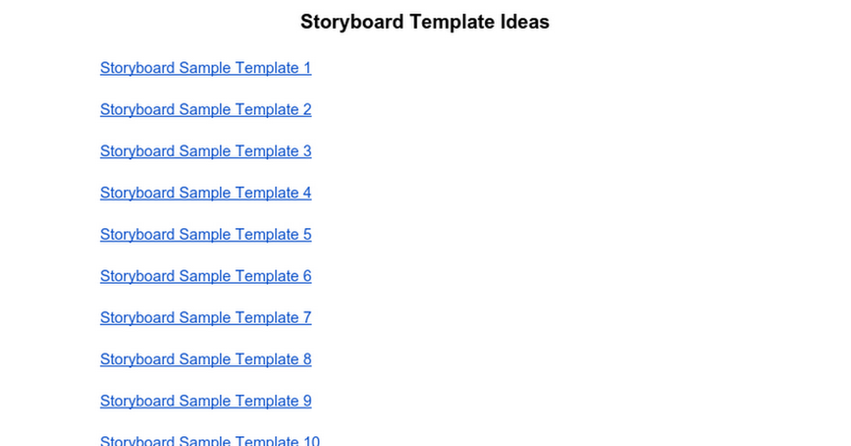 Storyboard Template Ideas Google Docs