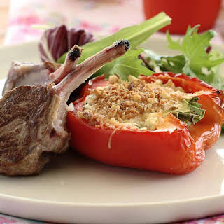 Lamb Chops with Stuffed Peppers.