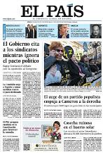 Photo: En la portada de EL PAÍS del sábado 4 de mayo de 2013: El Gobierno cita a los sindicatos mientras ignora el pacto político; El auge de un partido populista empuja a Cameron a la derecha; Mourinho ajusta cuentas: http://srv00.epimg.net/pdf/elpais/1aPagina/2013/05/ep-20130504.pdf
