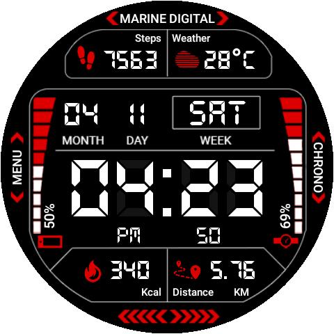 Marine Digital 2 Watch Face & Clock Live Wallpaper 1.07 screenshots 14