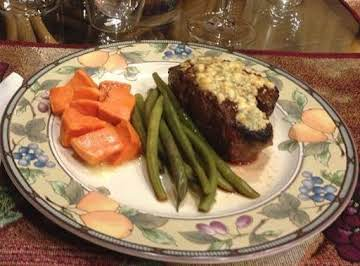 Filet Mignon encrusted with Blue Cheese