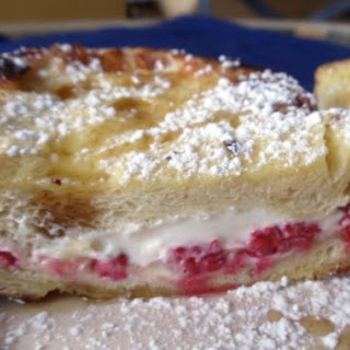 Raspberry and Cream Cheese Stuffed French Toast.