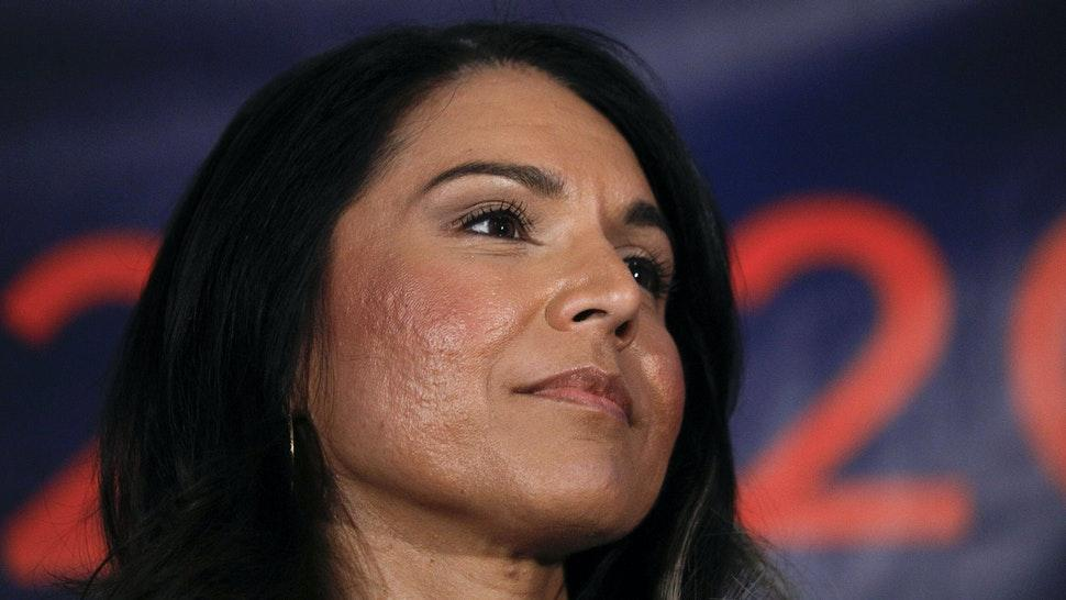 DETROIT, MI - MARCH 03: Democratic presidential candidate U.S. Representative Tulsi Gabbard (D-HI) holds a Town Hall meeting on Super Tuesday Primary night on March 3, 2020 in Detroit, Michigan. Gabbard, the first Samoan American and first Hindu elected to Congress, is one of two women left in the Democratic Primary, the other being Senator Elizabeth Warren.