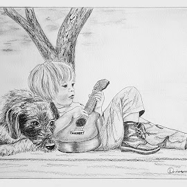 Boy, Guitar & Dog by Ingrid Anderson-Riley - Drawing All Drawing