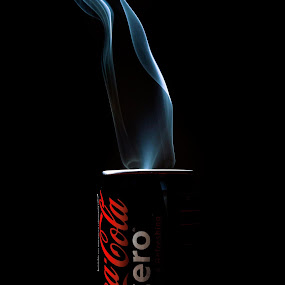 coke zero smokin by Chris Olivar - Artistic Objects Other Objects ( pwccans, blue smoke, fine art, things with smoke, tin cans )