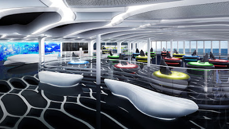 Passengers can ride hover craft bumper cars at the Galaxy Pavilion on board.