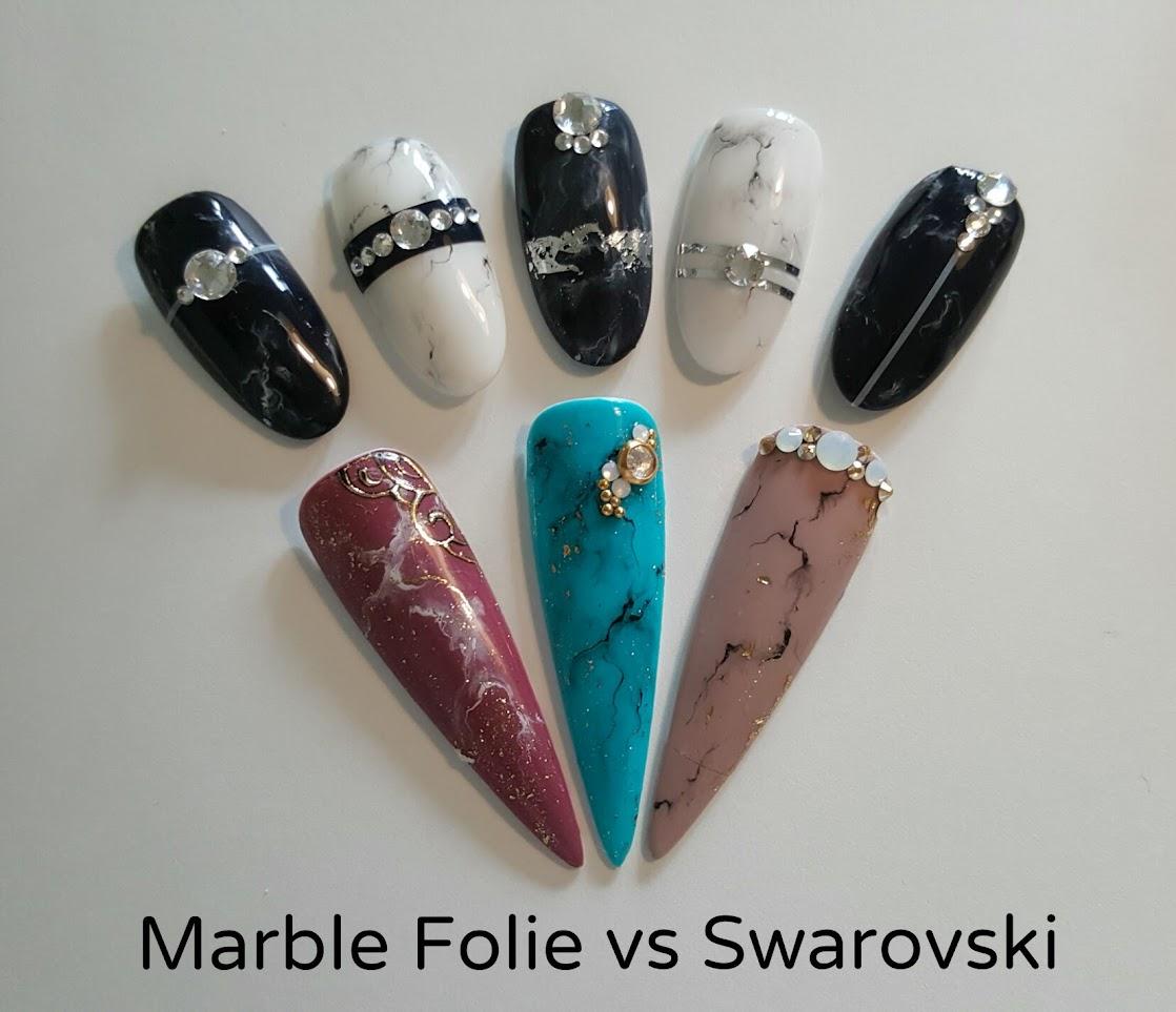 Nail-Art: Marble, Foil + Swarovski - Alina Hoyo Nail Artist