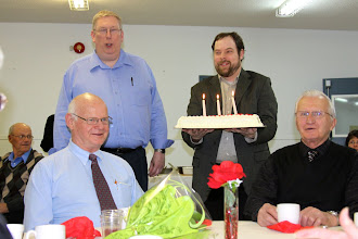 Photo: Sunday, Feb 17/13 - Doug Thomson and Pastor Mike present Eldon a birthday cake, since his 70th is not far away. (Ron thinks it's funny that Eldon is going to be 70!)
