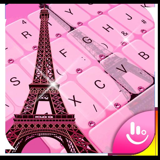 Pink Girl Eiffel Tower Keyboard Theme