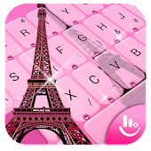 Pink Girl Eiffel Tower Keyboard Theme