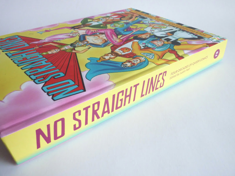 "Photo: No Straight Lines: Four Decades of Queer Comics by various artists; edited by Justin Hall  http://www.fantagraphics.com/nostraightlines  328-page black & white/color 7.75"" x 10.25"" hardcover • $35.00 ISBN: 978-1-60699-506-8 - Spine."