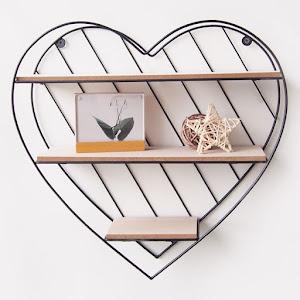 Raft decorativ din lemn si metal in forma de inima, 33.5x9.5x32 cm