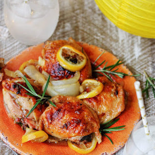 Baked Honey Lemon Chicken with Garlic and Rosemary.