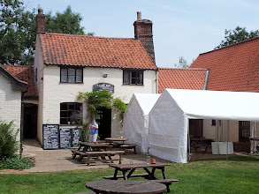 Photo: Before the St. Peter's tour, Owen made his way to the remote Locks Inn pub near Geldeston, Norfolk on the bank of the rural river Waveney.