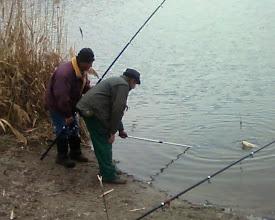 Photo: Az idei első ponty, BÉLÉSZ  LÁSZLÓ, 2 kg, 2013.02.26. A halőr (Pali bácsi) segít neki meríteni, pikkelyes.