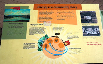 Photo: Various outdoor signage describing the operation and history of Energy District St. Paul (especially for those who were unable to participate in the tour)