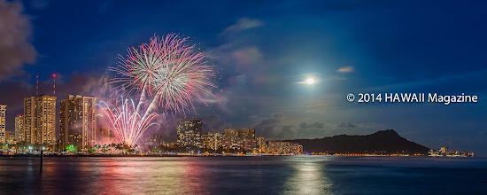 Photo: OUTDOORS CATEGORY, FINALIST. Full moon and fireworks from Ala Moana Beach Park, Oahu. Photo by Dwight Morita, Kailua, Oahu, Hawaii.